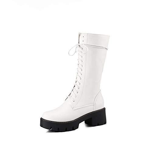 Bfg Boots Frauen im Kopf dick mit Hohen Stiefeln wasserdichte Plattform Martin Stiefel Griffige Warm Lace up-Seiten-Reißverschluss-großer High-Heeled,Weiß,37EU -
