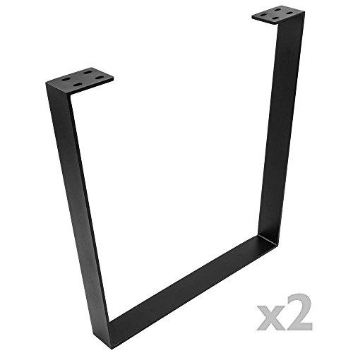 PrimeMatik - Pies rectangulares para Mesa Patas en Acero Negro 700 x 80 x 710 mm 2-Pack