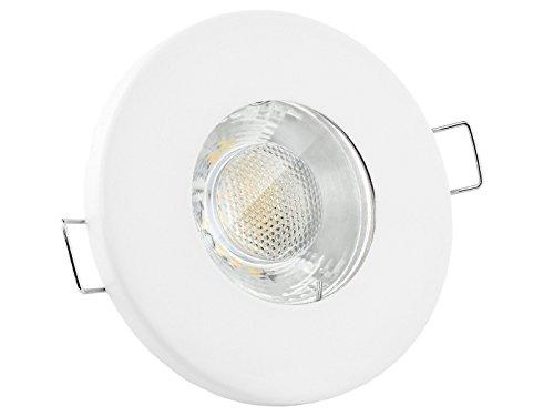 linovum® LED Einbaustrahler 3W flach IP65 weiß mit Wasserschutz für Bad, Dusche oder Außen inkl. GU10 Lampe warmweiß 2700K -