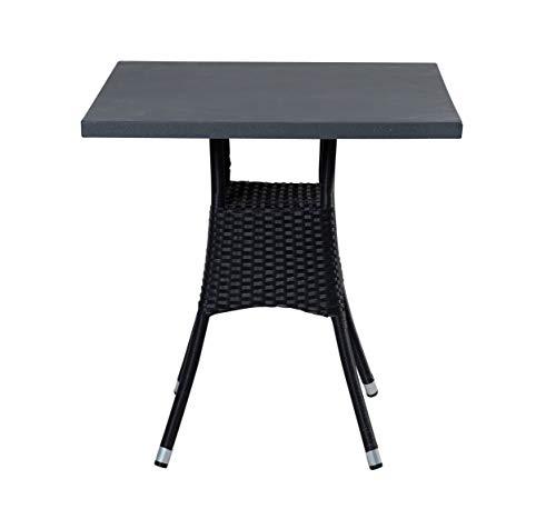 Wholesaler GmbH LC Garden Bistrotisch Balkontisch Gartentisch aus Poly Rattan eckig 70x70cm schwarz