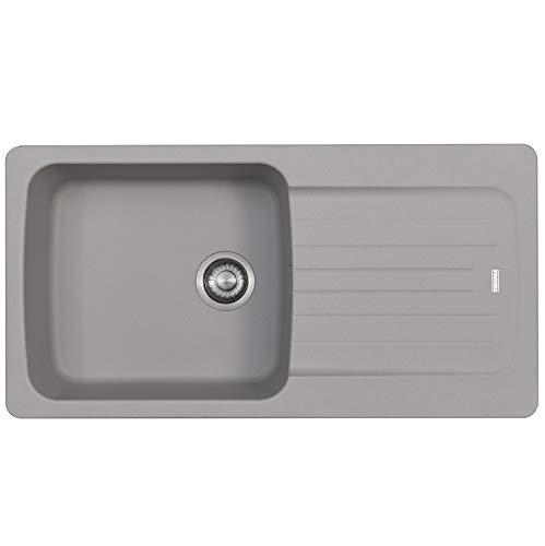 Franke Aveta 1.0 Lavello da cucina reversibile tectonite colore grigio pietra e kit di scarico