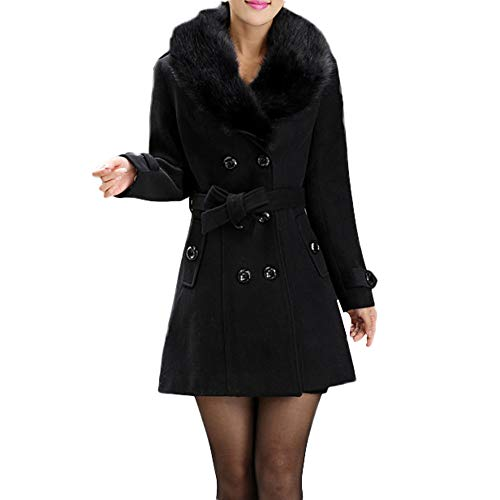 Wollmantel Frauen MYMYG Damen Winterjacke Trenchcoat Revers Wollmantel -