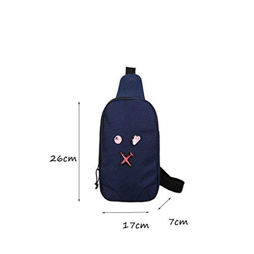 CLOTHES- Versione coreana della spalla trasversale trasversale della tela di canapa Sacchetto di cassa dell'uomo del sacchetto di viaggio di svago libero di modo ( Colore : Grigio ) Il blu scuro.