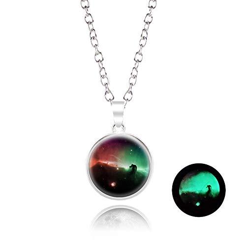 SSLL Halskette Mond Anhänger Halskette In Der Dunkelheit 18Mm Galaxy Planet Glas Coronal Luminous Jewelry Women, V (Dunkelheit Perlen Leuchten Glas Der In)