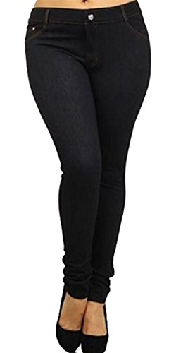 Ladies Womens Skinny PLUS SIZE Stretchy Fitted Jeggings Jeans DENIM BLACK UK SIZE XL/14