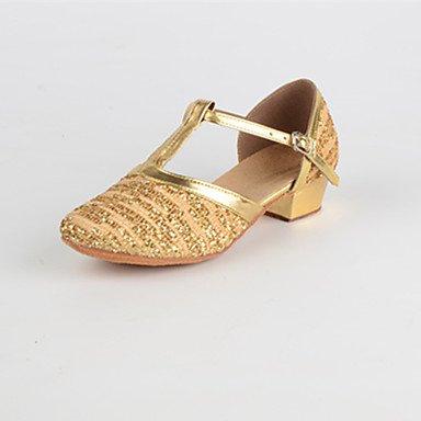 Wuyulunbi@ Donna Paillette Indoor tacco basso oro rosso 1 US8 / EU39 / UK6 / CN39
