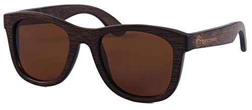 Bexxwell Sonnenbrille aus Echtholz, handgefertigt, UV-Schutz, polarisierend, inkl. Mikrofaserputztuch, Beutel und Schachtel (Holz, Wood) (Braun)