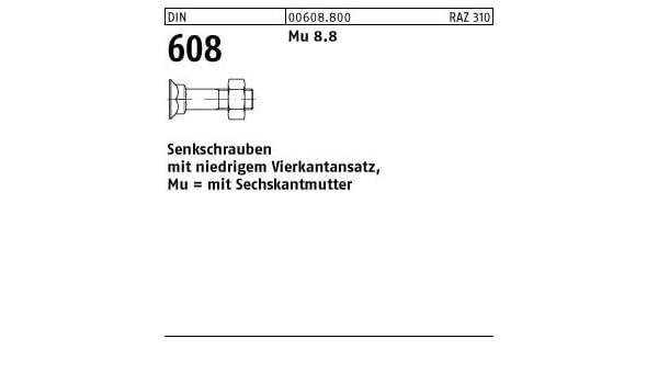 Senkschrauben mit niedrigem Vierkantansatz DIN 608 Mu 8.8 Stahl blank