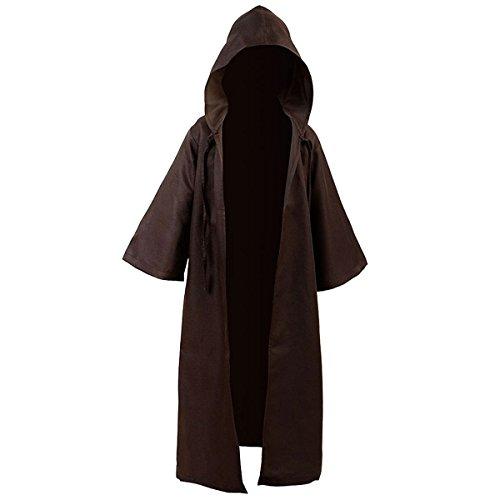 Cusfull mantello con cappuccio costume di halloween felpa con cappuccio cappotto (m, marrone per bambini)