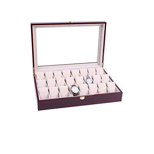 Zichen 24 Slots Holz Uhr Vitrine Glas Top Schmuck Sammlung Aufbewahrungsbox Veranstalter Männer/Frauen Kirschholz -