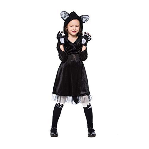 Kostüm Black Kind Cat - Jeff-chy Halloween Black Cat Rock Performance Kleidung Eltern-Kind-Kostüm Süßes Black Cat Animal Rollenspiel-Kostüm-Set,Schwarz,S