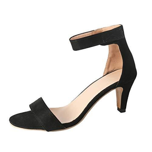 Sandalen Damen High Heels Leopard Absatzschuhe Dünne Sommer Peep Toe Hohe Schuhe Knöchelriemen Stiletto Pumps Römische Schuhe (Schwarz,42 EU) -