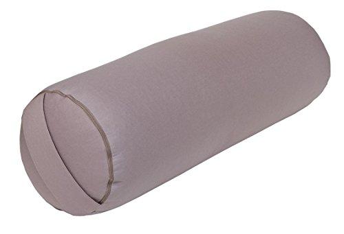 Traversin pour yoga et pilates - Made in Germany, L 65 x Ø 22 cm, Bezug und Inlett 100 % Baumwolle, Füllung Bio-Dinkelspelzen, Bezug und Inlett ohne Füllung maschinenwaschbar bis 30ºC, gris