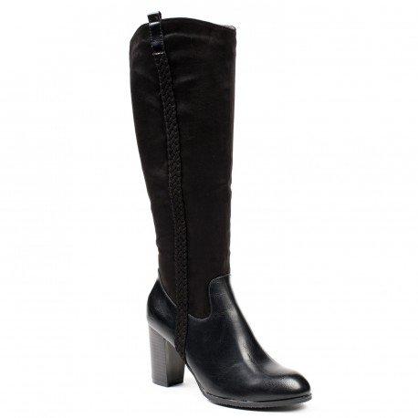 Ideal Shoes - Bottes bi-matière avec tresse verticale Jacintha Noir