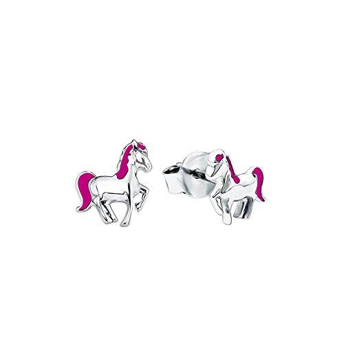 Kinder-Ohrstecker Pferde 7 mm 925 Silber rhodiniert Emaille - 541954 ()
