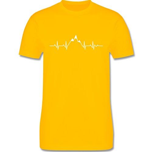 Symbole - Herzschlag Berge - S - Gelb - L190 - Herren T-Shirt Rundhals (Symbol T-shirt Gelb)