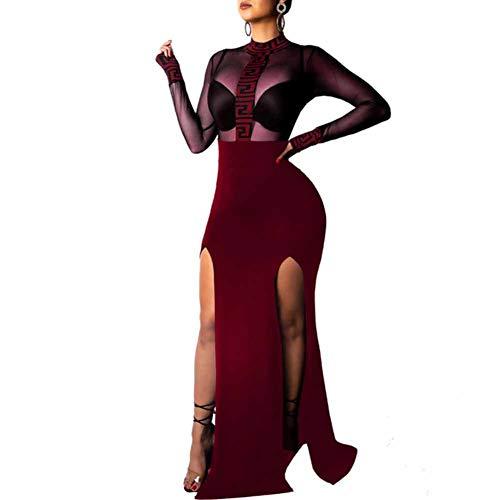 029b3ea863 CHIYEEE Vestito Donna con Collo Rotondo Abito Donne Vestito da Invernale  Manica Lunga Abito da Sera