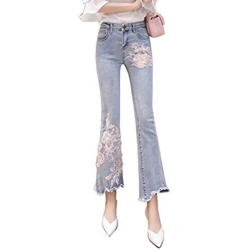 Gestickte Jeans Frau Retro Perlen hohe Taille Stretch schlanke Micro-Horn neun Hosen (Farbe : Blau, größe : M) -