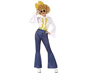 Atosa-61408 Atosa-61408-Disfraz Disco-Adulto Mujer, Color dorado, M a L (61408