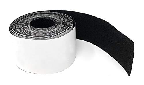 Hochwertiges Filzband stark selbstklebend 4 Meter lang, 50mm breit in Schwarz - Filzklebeband - Möbelgleiter, Anti Quietsch und Anti Kratz Band - Tische, Schränke, Dämmung von Klappergeräuschen -