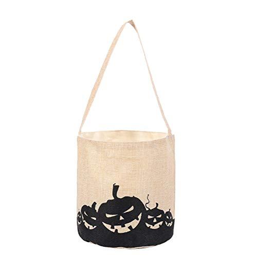 Amosfun Pumpkin Tote Bag Leinentaschen Halloween Candy Bags Halloween Goodie Bags Süßes oder Saures-Taschen