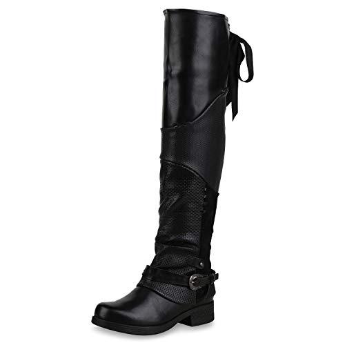 SCARPE VITA Damen Overknees Stiefel Leicht Gefütterte Bikerstiefel Print Boots 173361 Schwarz 38