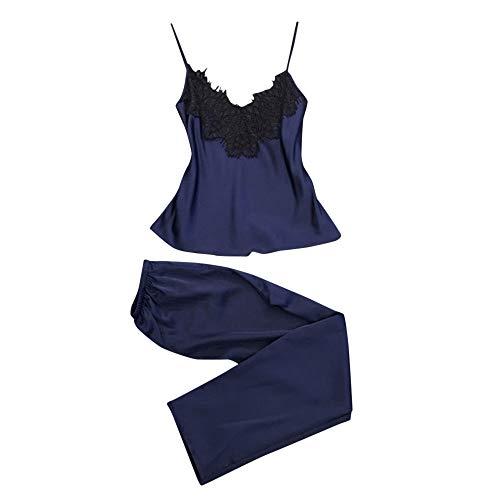 ESAILQ 2 stück Damen Satin Pyjama-Anzug aus Seide mit Babydoll-Dessous(X-Large,Blau)