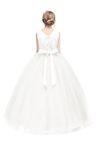 Kinder Prinzessin Kleid Tüll Brautkleider festlich Lang Weiß Gr.120