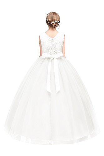 festkleid kinder Mädchen A-Linie Ballkleid Festkleid mit Schleife Weiß Gr.150