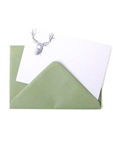 Tartan & Zebra 10 Writing cards with 'Deer Head' print