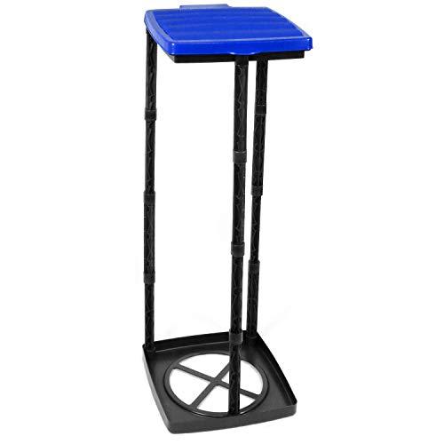 *com-four® Müllsackständer mit Deckel, 3 Verschiedene Höhen montierbar, blau (Deckel – blau)*