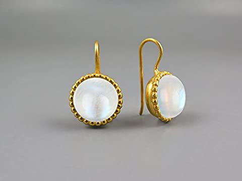 10mm Moonstone Earrings handmade jewellery for women 24K Gold Plated 925 Sterling silver earrings with drops gifts for women earring geometric silver anniversary gifts for her gold jewellery earrings