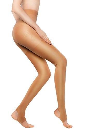 Damen Strumpfhosen Kompressionsstrümpfe 15-20 mmHg Kompression Leggings Winter Stützstrümpfe Nude S