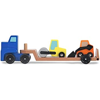 Melissa & Doug Low Loader Wooden Vehicle Play Set - 1 Truck With 2 Chunky Construction Vehicles