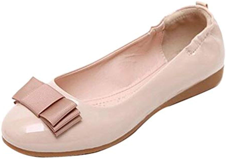 c7c4b2963b4335 Eeayyygch Casual Chaussures Plates Plates Plates en Cuir Bowknot pour Femme  (coloré : Abricot,