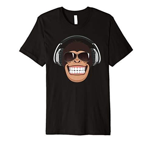 Frecher Affe mit Flieger-Sonnenbrille Musik Kopfhörer Tee