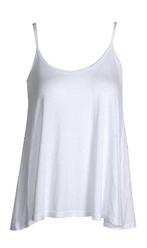 Fast Fashion Damen Oben Ärmellose Klar Viskose-Jersey Schaukel Cami Weste Weiß