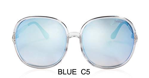 LKVNHP Farbverlauf Übergroße Damen Sonnenbrille Große Rahmen Kunststoff Transparent Weiß Mode Farbige Unisex Sonnenbrille KlarWTYJ065 blau c5