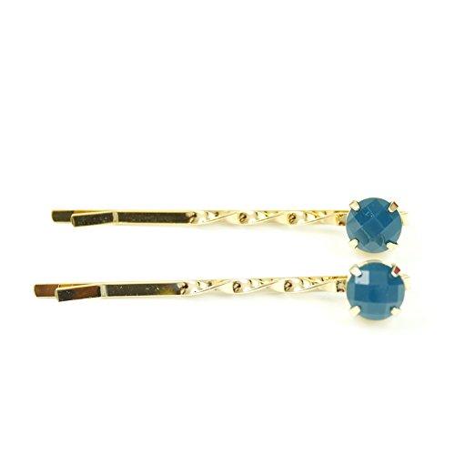 rougecaramel - Accessoires cheveux - Mini pince fantaisie métal doré 2pcs - bleu canard