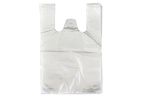 100 transparent Kunststoff Taschen Weste Stil Tragetaschen für Einkauf Supermarkt beidseitig Aufbewahrungsbeutel, farblos, 8.9