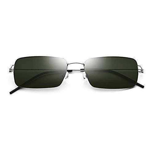 KJDFN Schraubenlose Ultraleichte Sonnenbrille Für Herren, Die Eine Brille Aus Titanlegierung Mit Quadratischer Sonnenbrille Fahren. Weibliche Silberne Umrandung Dunkelgrüne Linse UV400-Schutz Trend