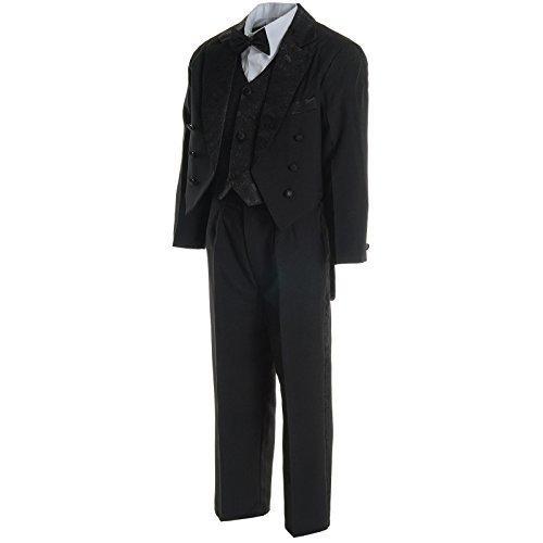 Jungen Kinder Kommunion Hosen Fest Anzug Smoking Taufe Hochzeit Anzug 5Tlg 20561, Farbe:Schwarz;Größe:116