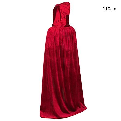 Elf Kostüm Samt Kind - Erwachsene, Kinder, Unisex, dicker Samt-Umhang mit Kapuze, glitzernd, einfarbig, Halloween, Party, Vampirumhang, Bühne, Performance, Cosplay-Kostüm 11 rot
