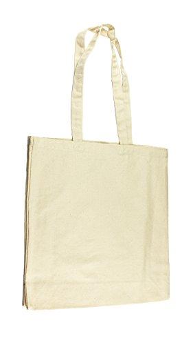 Jutebeutel Canvastasche aus Jeansähnlichem Stoff (sehr robust und widerstandsfähig) unbedruckt mit Seiten-&Bodenfalte und Zwei Langen Hen...