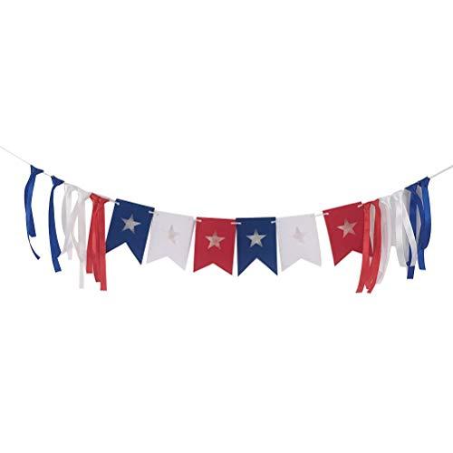 Amosfun Amerika Unabhängigkeitstag Banner 4. Juli Bunting Banner fühlte Pull Flag Wimpel Dekoration Foto Prop für 4. Juli patriotische Party Supplies