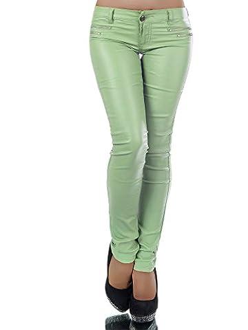 L521 Damen Jeans Hose Hüfthose Damenjeans Hüftjeans Röhrenjeans Leder-Optik, Farben:Hellgrün;Größen:38