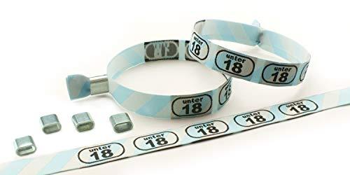 Einlassbänder, Kontrollbänder, Stoff gewebt, verschiedene Motive VE 10 Stück ALU (U18) - Stoff-armband Verschluss