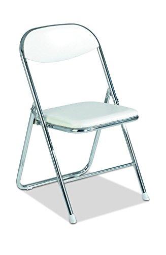 Klappstuhl Beistellstuhl BELISE | Bezug in weißem Kunstleder | Gestell aus Metall | klappbar