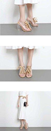 SHEO sandales à talons hauts Braguelles à talons hauts à la mode pantoufles en cristal transparent épais avec des pantoufles fraîches ( Couleur : Noir , taille : 36 ) Abricot