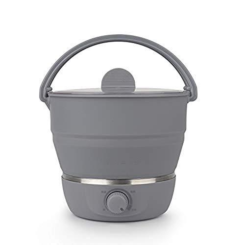 Faltwasser Skillet, Food Grade Silicone Travel Portable Falten elektrischer Kettle Multi-Purpose Mini Electric Hot Pot,Gray